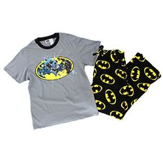 DC Comics Mens 2 pc Pajamas Set (Small, Grey/Black Batman Distressed) DC Comics http://www.amazon.com/dp/B00WX16KF8/ref=cm_sw_r_pi_dp_xlpvvb0YD4YHH
