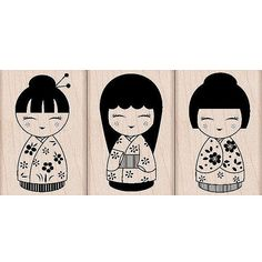 Tre giapponese bambole timbri Woodblock Craft di myrubberstamp