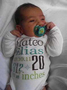 Birth Announcement Onesie by PurplePossom on Etsy, $15.00