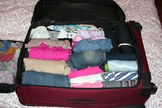 Roll all of your clothing to prevent wrinkles and save space! // I do this on all my vacations, that's how I did a month in Europe with a schoolkid's backpack.