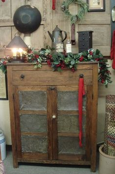 Primitive Christmas Cupboard... by marianne #homedecorating