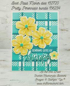 BestPlaidMakerdies-PrettyPerennials Flower Outline, Stampin Up Catalog, Happy Flowers, Flower Center, Happy Vibes, Flowers Perennials, Stamping Up, Flower Cards, Stampin Up Cards