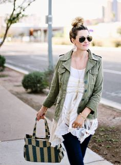 Free People, Trapeze Dress, Trapeze Slip, Free People Trapeze, Bun, Top Knot, Ray-Ban, Aviators, Pink Lips, Army Jacket, Green Jacket, Milit...