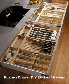 Unique Kitchen Storage Ideas that you can apply in your kitchen - Design Galerien Kitchen Room Design, Kitchen Cabinet Design, Modern Kitchen Design, Home Decor Kitchen, Interior Design Kitchen, Home Kitchens, Decorating Kitchen, Kitchen Ideas, Kitchen Sink