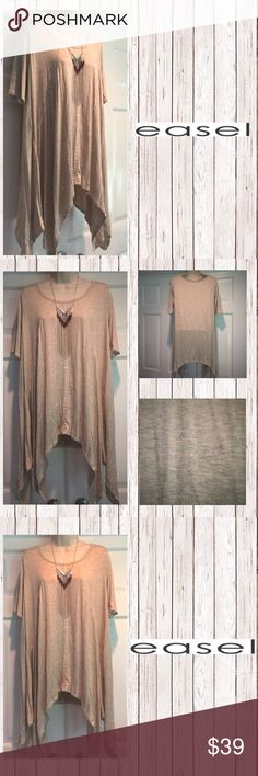 Shark Bite Knit Oversized Tunic! Trendy Tunic with shark bite bottom and stitches detail!  Really cute with skinny jeans.  Light and airy!  Oversized like Free People. Color Oatmeal (Heather Grey). Super Comfy! See last pic for measurements. Easel Tops Tunics