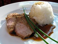 Balsamic Pork Tenderloin ~1-1 1/2 lb pork tenderloin Marinade: 1/2 C olive Oil, 1/4 C Balsamic Vinegar, 2 T Cider Vinegar, 2 T Honey, 3 Garlic Cloves, 1 T fresh rosemary, 1 T Dijon Mustard ~Mix marinade in blender. Place pork and half of marinade in zip-top bag overnight, turning occasionally. Preheat oven to 375°. Drain pork. Brown in iron skillet. Place in oven, roast about 25 mins. Slice thinly and serve. (Refrigerate remaining marinade for another use, such a roasted vegetables, meat.)