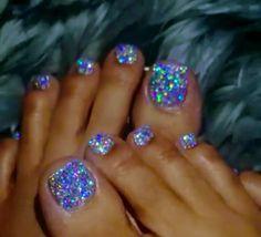 Nail Designs - Glitter Pedicure - - hair & make up.- Nail Designs – Glitter Pedicure – – hair & make up – Nail Designs – Glitter Pedicure – – hair & make up – - Simple Toe Nails, Pretty Toe Nails, Cute Toe Nails, Summer Toe Nails, My Nails, Beach Nails, Toe Nail Color, Toe Nail Art, Fabulous Nails