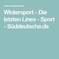 Wintersport - Die letzten Lines - Sport - Süddeutsche.de