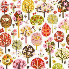 Flower, trees, birds, whimsical, cute, pattern, girl, nursery, brown, pink, red, yellow.