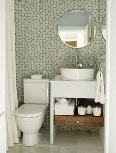 White And Green Bathroom Design - Design photos, ideas and inspiration. Amazing gallery of interior design and decorating ideas of White And Green Bathroom Design in bathrooms by elite interior designers. Small Space Bathroom, Bathroom Design Small, Small Spaces, Small Bathrooms, Modern Bathroom, Bathroom Designs, Simple Bathroom, Bathroom Interior, Compact Bathroom