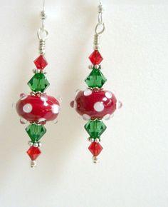 Christmas Earrings Holiday Earrings Red White by Elegencebyelaine, $26.00