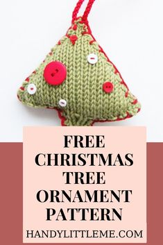 Christmas tree pattern. Make a Christmas tree ornament with this free knitting pattern. You can make lots of these Christmas tree decorations using left over yarns from your yarn stash. Great stash busting project! Free Knitting Patterns For Women, Beginner Knitting Patterns, Knitting For Kids, Knitting For Beginners, Mini Christmas Tree Decorations, Christmas Crafts, Christmas Tree Knitting Pattern, Knitted Dog Sweater Pattern, Knitting Abbreviations
