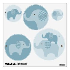 Mod Blue Elephant Wall Stickers Decals