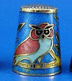Enameled Metal Thimble - Owl .