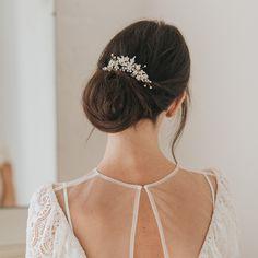 Hazel crystal and pearl embellished hair vine Bridal Hair Vine, Wedding Hair Accessories, Bridesmaid Hair, Vines, Wedding Hairstyles, Pearls, Crystals, Hair Styles, Beauty