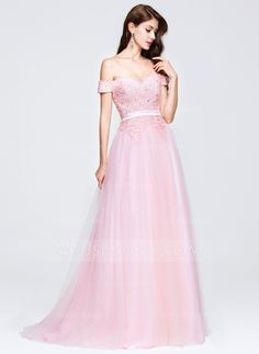 A-Line/Princess Off-the-Shoulder Sweep Train Tulle Dress With Beading Appliques Lace Sequins