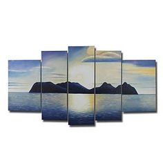 Hand-painted Landscape Oil Painting with Stretched Frame - Set of 5 - Free shipping