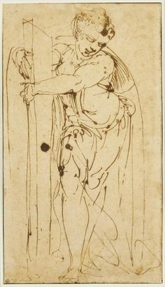 Luca Cambiaso, Italian, 1527–1585, Female figure holding an oblong object (Fortitude?). Pen and iron gall ink, 40 x 22.6 cm. (15 3/4 x 8 7/8 in.); frame: 54.3 x 41.6 cm. (21 3/8 x 16 3/8 in.). Bequest of Dan Fellows Platt, Class of 1895. Photo Bruce M. White. Courtesy of the Princeton University Art Museum.