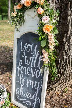 Shabby Chic Chalkboard Sign | Elegant Garden Party | Shelly Taylor Photography