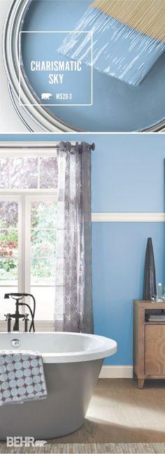 ideas bathroom paint colors blue accent walls for 2019 Blue Interior Design, Blue Accent Walls, Bathroom Paint Colors Behr, Paint Colors For Home, Interior Paint Colors Schemes, Decor Interior Design, Bathroom Paint Colors, Painting Bathroom, House Colors