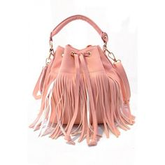 LUCLUC Pink Tassels Drawing Expandable Bag ($26) ❤ liked on Polyvore