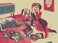 Harley Quinn Matt Taylor Poster - Vinyl Records and Harley!