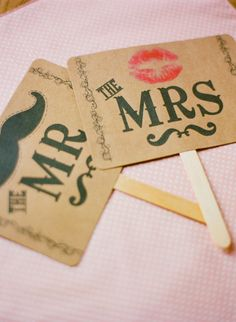 Mr and Mrs - these are super cute. I'm thinking of a LOT of picture opportunities with these :)