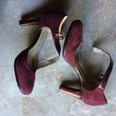 """NWT ANNE KLEIN WINE SUEDE STRAPPY HEELS W GOLD NWT ANNE KLEIN WINE SUEDE STRAPPY HEELS W GOLD. A little over a 3"""" heel Anne Klein Shoes Heels"""