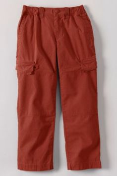 Boys' Iron Knee Pull-on Ripstop Pants from Lands' End - Yacht Blue