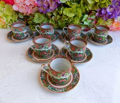 7 Vintage Chinese Rose Medallion Porcelain Cups & Saucers #MadeInChina