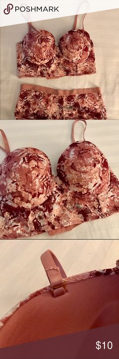 NWOT Floral Lace Bustier & Hipster Lingerie Set NWOT Floral lace bustier and hipster panty set in burgundy/mauve. Never worn. Bottoms have been washed, though. In perfect condition. Removable straps. Bra is 36B. Hipster style panty is size L. Smoke-free home. ☺️ Intimates & Sleepwear Bras