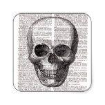 Vintage Skull Print on Dictionary Page Square Sticker #halloween #happyhalloween #halloweenparty #halloweenmakeup #halloweencostume