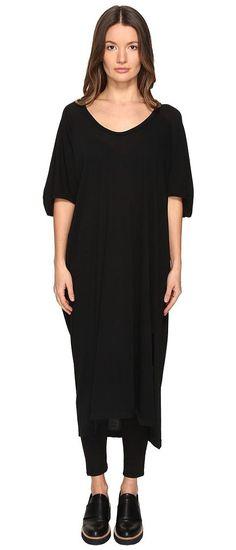 Y's by Yohji Yamamoto Loose Raglan Big T Dress (Black) Women's Dress - Y's by Yohji Yamamoto, Loose Raglan Big T Dress, YX-T63-048, Apparel Top Dress, Dress, Top, Apparel, Clothes Clothing, Gift, - Street Fashion And Style Ideas
