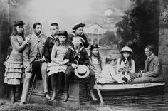 English and Greek royal cousins, from left: Princess Victoria of Wales, Prince Albert Victor of Wales, Prince Constantine of Greece, Princess Maud of Wales, Prince Nicholas of Greece, Prince George of Greece, Princess Louise of Wales, Princess Marie of Greece, Princess Alexandra of Greece and Prince George of Wales, 1882