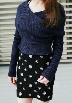 Dark Blue Wrap-Style Sweater @scrapwedo