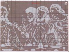 Last supper abstract 6/10.......solo esquemas religiosos (pág. 51) | Aprender manualidades es facilisimo.com Cross Stitch Designs, Cross Stitch Patterns, Religious Cross, Chicken Scratch, Last Supper, Stitch 2, Christmas Cross, Filet Crochet, Blackwork