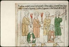 Navarre Picture Bible, Pamplona, Spain, 1197AD: Gideon's men armed with torches, horns and jars to defeat Midian