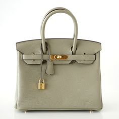 BIRKIN 30 bag new color SAGE clemence gold hardware Available at http://ss1.us/a/6TR2qdnt