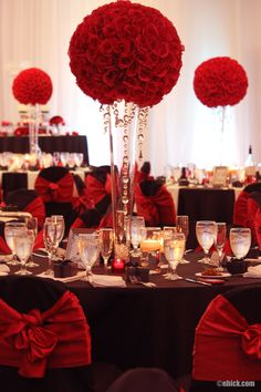 Red Roses with Hanging Crystals Centerpiece
