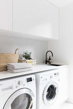 2 in Twelve Forever Home Bathrooms modern white laundry, matte black faucet, modern farmhouse laundry White Laundry Rooms, Modern Laundry Rooms, Small Laundry, Laundry In Bathroom, Laundry Decor, Laundry Cupboard, Laundry In Kitchen, Modern White Bathroom, Room Kitchen