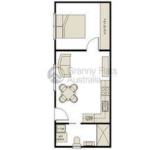 1 Bedroom Granny Flat Archives – Granny Flats Australia - Marcia McInnis - HOME Small House Plans, House Floor Plans, Granny Flats Australia, Granny Flat Plans, Tyni House, Studio Apartment Layout, Apartment Floor Plans, Flat Ideas, Modular Homes