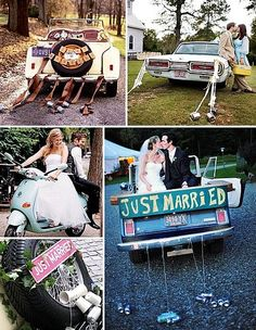 Cans and a just married sign are necessities for the couples getaway car. Wedding Getaway Car, Wedding Limo, Post Wedding, Wedding Signs, Dream Wedding, Wedding Ideas, Wedding Pictures, Wedding Blog, Scooters