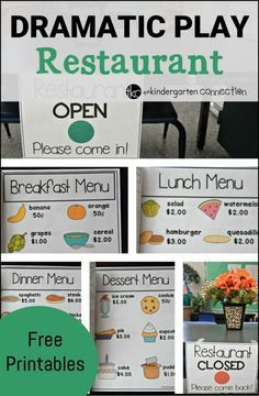 """a blast learning and playing with these dramatic play """"restaurant"""" printables and ideas!Have a blast learning and playing with these dramatic play """"restaurant"""" printables and ideas! Dramatic Play Themes, Dramatic Play Area, Dramatic Play Centers, Preschool Dramatic Play, Preschool Classroom, Preschool Activities, Family Activities, Restaurant Themes, Preschool Restaurant"""