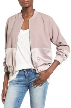 Missguided Satin & Faux Suede Bomber Jacket available at Blouson Satin, Mode Outfits, Casual Outfits, Satin Bomber Jacket, Pink Bomber, Faux Jacket, Utility Jacket, Moda Casual, Satin Jackets