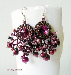 In bloom beadwoven fringe earrings with Swarovski rivoli, seed beads and freshwater pearls in fuchsia and pink with gold filled earwires. $42.00, via Etsy.