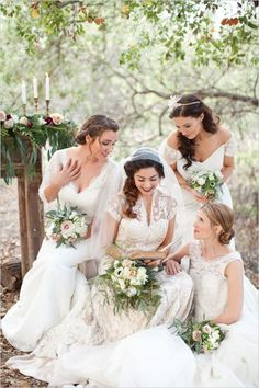 A Timeless & Beautiful Bridesmaids Look ~ Long Ivory Dresses