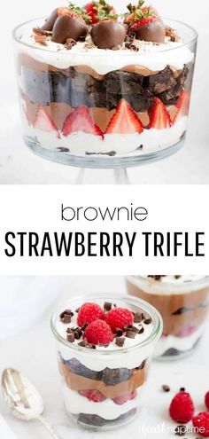 Brownie strawberry trifle made with layers of strawberries, chocolate pudding, cream and brownies. This trifle dessert has the perfect combination of flavors and tastes absolutely delicious! and desserts sweet treats Strawberry Trifle, Strawberry Desserts, Chocolate Strawberries, Chocolate Desserts, Easy Desserts, Delicious Desserts, Yummy Food, Strawberry Pudding, Strawberry Brownies