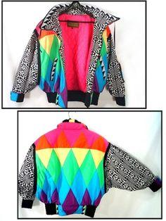 ultimate 80's NEON puffy ski jacket vintage by RockyMountainRetro