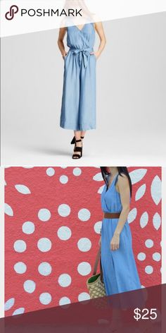 Chambray jumpsuit Chambray jumpsuit romper- denim look-wide leg with tie waist synched- never worn!(from target but tagged as Zara for exposure) Zara Pants Jumpsuits & Rompers