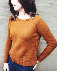 Classic pullover with cable detail. Noble Hill by Brittney-Jean Baily published in b.woolens